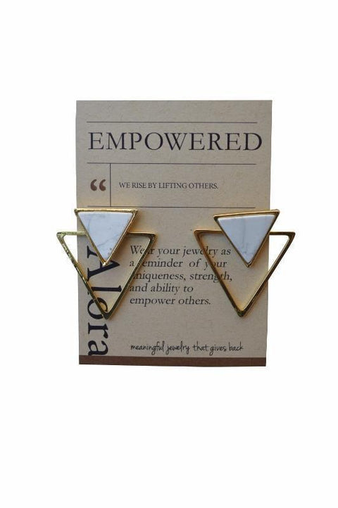 Jira Geometric Triangle Statement Stud Earrings - Alora Boutique - Jewelry with meaning that gives back fashion for good