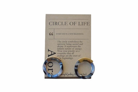 Ewesha Circle Resing Stud Earrings - Blue - Alora Boutique - Jewelry with meaning that gives back fashion for good