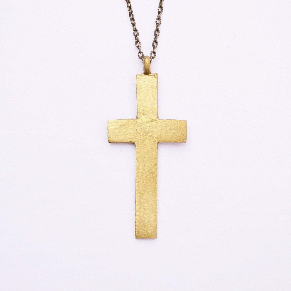The Journey- Naomi | Thick Statement Cross Necklace | Recycled Brass