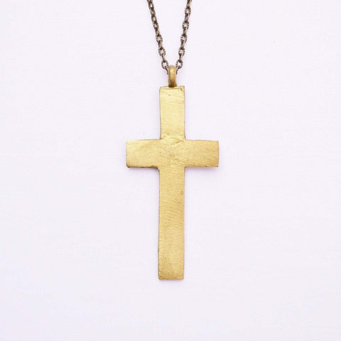 The Journey- Ruth | Thick Statement Cross Necklace | Recycled Brass