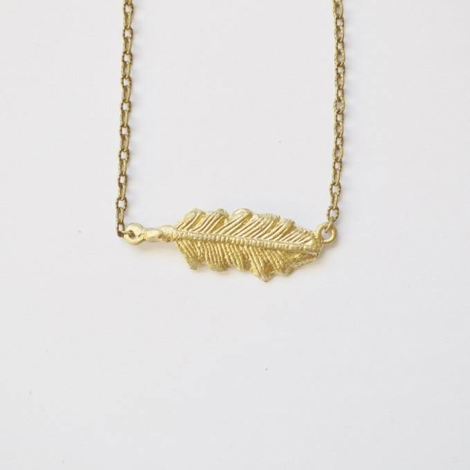Free spirit layering feather side necklace recycled brass feather pendant necklace side sustainable fashion jewelry recycled brass alora boutique mozeypictures Images