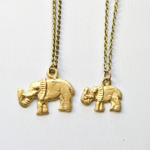Good Luck Elephant Pendant Necklace | Safari Collection | Recycled Brass Boho Necklace - Alora Boutique  - 1
