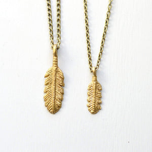 Free Spirit | Feather Pendant Necklace | Recycled Brass Necklaces Alora Boutique Delicate - 18 Inches