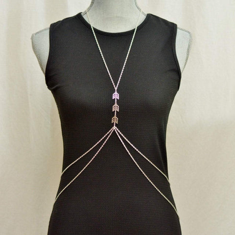 Be Your Own Kind of Beautiful Silver Body Chain | Geometric - Alora Boutique  - 1