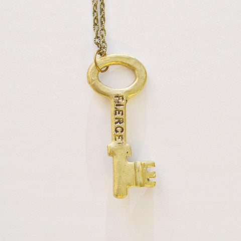 Unlock Fierceness 'Fierce' Brass Key Necklace - Alora Boutique  - 1