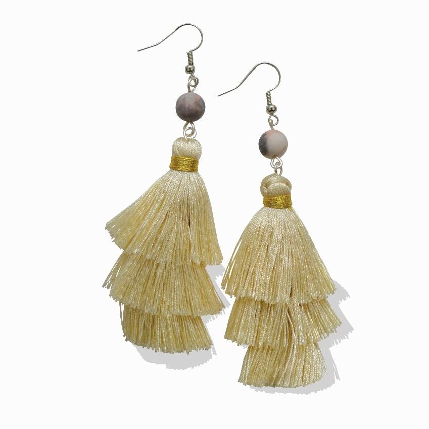 "Empower Fringe Earrings | Cream ""Warm Sand"" Zebra Jasper"