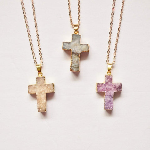 The Journey | Druzy Gemstone Cross Necklace | Rose Gold