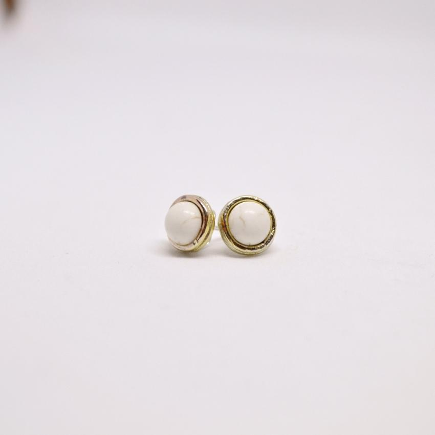Gemstone Stud Earrings | Howlite Gemstone - Alora Boutique - Jewelry with meaning that gives back fashion for good