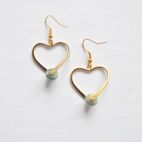 African Turquoise Healing Gemstone Earrings | 14k Gold | Heart
