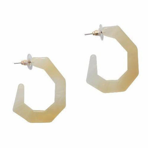 Quiana Geometric Hoop Resin Earrings - Cream - Alora Boutique - Jewelry with meaning that gives back fashion for good