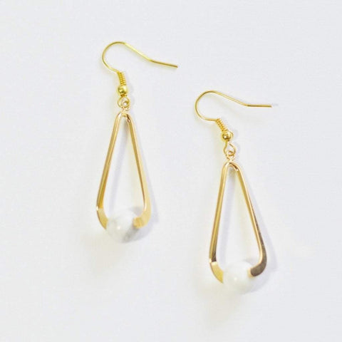 Howlite (White) Upward Spiral Gemstone Earrings | 14K Gold or Silver Plated  - Alora