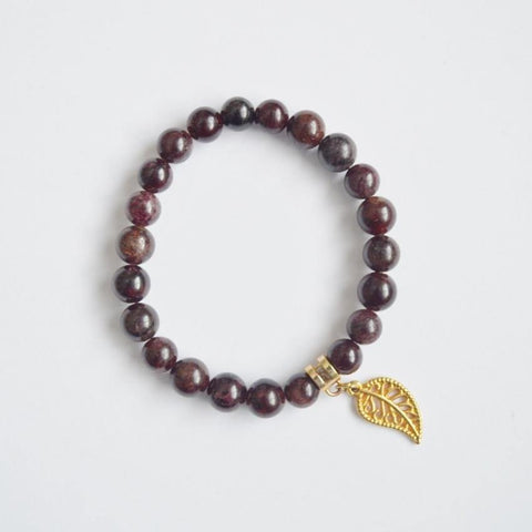 Garnet January Birthstone Gemstone Bracelet - Healing Gems - Alora Boutique  - 1