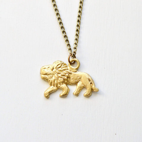 Lion Pendant Necklace | Safari Collection | Recycled Brass Boho Necklace - Alora Boutique  - 1