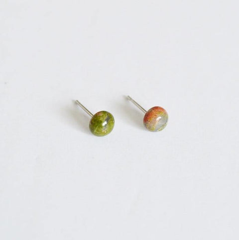 Round Gemstone Stud Earrings | African Turquoise Gemstone