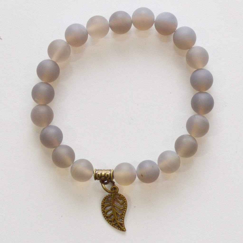 Grounding, Harmony, Balance | Beaded Stretch Bracelet | Grey Agate Gemstone - Alora Boutique - Jewelry with meaning that gives back fashion for good