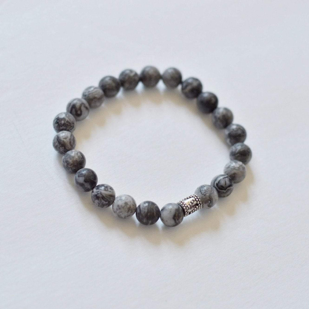 Gentleness, Comfort and Relaxation | Beaded Stretch Bracelet | Grey Jasper Gemstone - Alora Boutique - Jewelry with meaning that gives back fashion for good