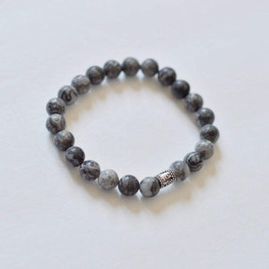 Grey Jasper Gemstone Bracelet Canada | Gentleness, Comfort and Relaxation Bracelets Alora Boutique