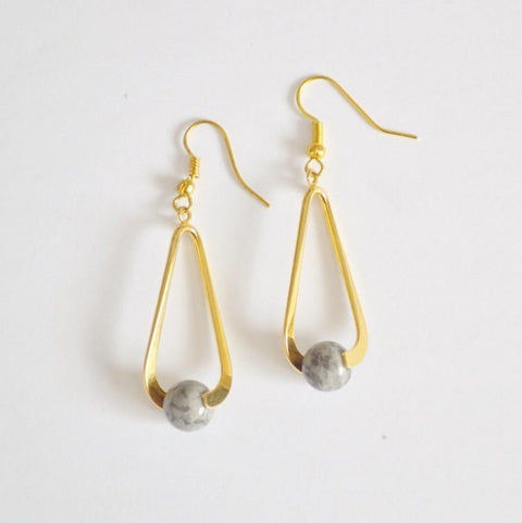 Grey Jasper Upward Spiral Gemstone Earrings | 14K Gold or Silver Plated - Alora Boutique  - 1