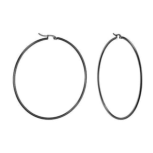 Blair | Black Hoop Earrings (Per Order) - Alora Boutique