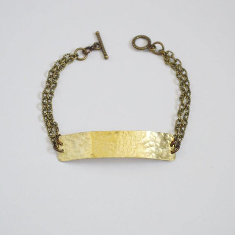 "Hammered Brass ""Your Shine is One of a Kind"" Bracelet - Alora Boutique  - 1"
