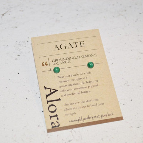 Grounding, Harmony, Balance | Stud Earrings | Green Agate Gemstone - Alora Boutique