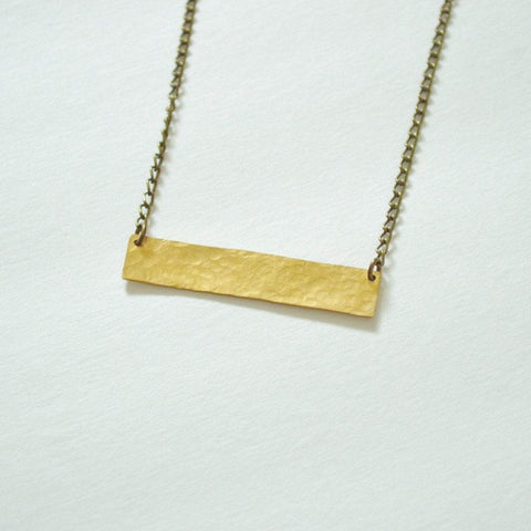 Balance | Thick Horizontal Bar Necklace | Brass - Alora Boutique