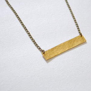 Balance | Thick Horizontal Bar Necklace | Brass - Alora Boutique - Jewelry with meaning that gives back fashion for good