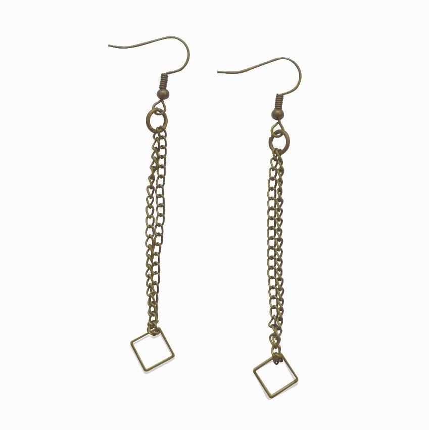 Dare to Be Your Own Person | Square & Chain Dangle Earrings | Raw Brass