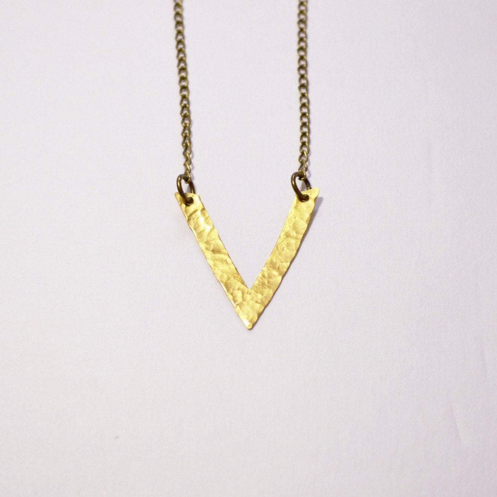 Be your own kind of beautiful V Chevron Necklace | Brass - Alora Boutique  - 1