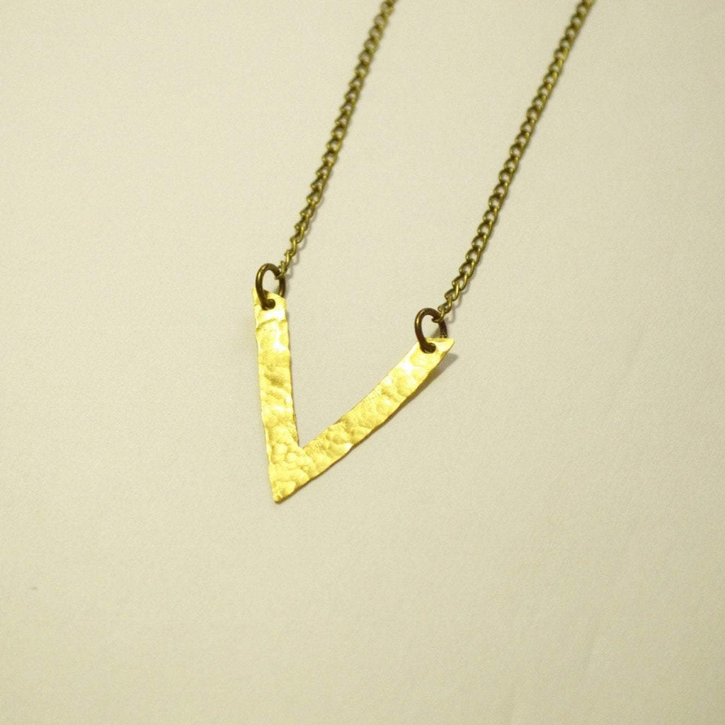 Be Your Own Kind of Beautiful | V Chevron Necklace | Brass - Alora Boutique - Jewelry with meaning that gives back fashion for good