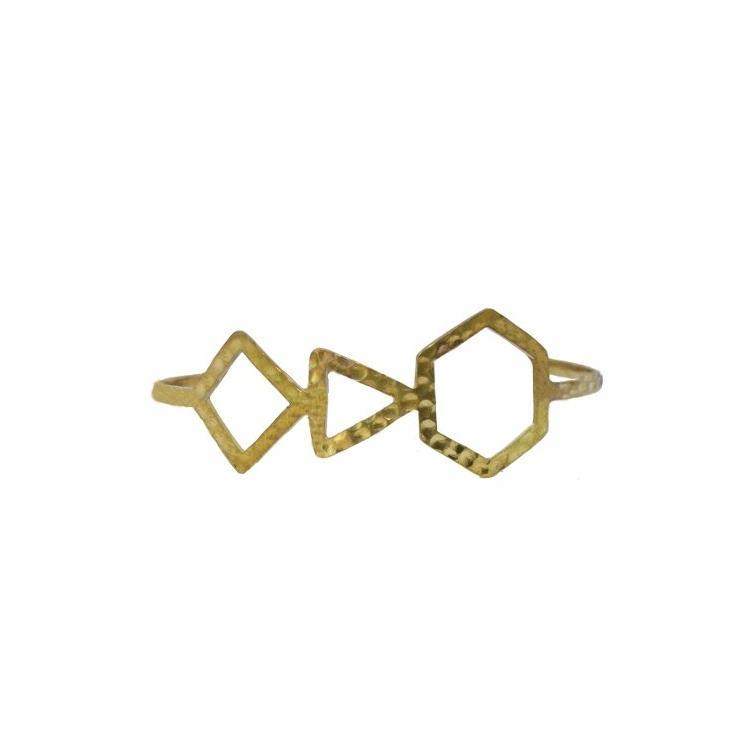 Empower Statement Geometric Bangle | Sterling Silver or Brass