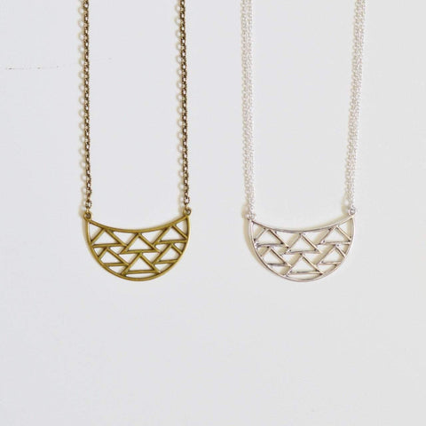 Dare to Be Your Own Person | Geometric Half Moon Necklace | Recycled Brass and Silver - Alora Boutique