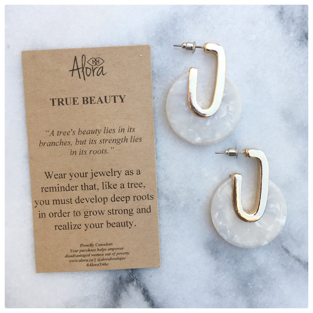 Valencia - True Beauty Resin Earrings - White