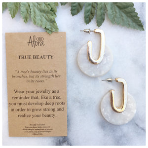 Valencia - True Beauty Resin Earrings - White - Alora Boutique