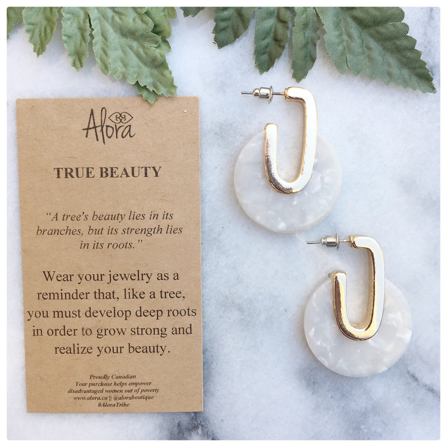 Valencia - True Beauty Resin Earrings - White Earrings Alora Boutique