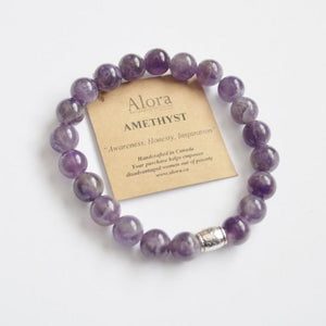Awareness, Honesty and Inspiration | Beaded Stretch Bracelet | Amethyst Gemstone Bracelets Alora Boutique Solid Silver