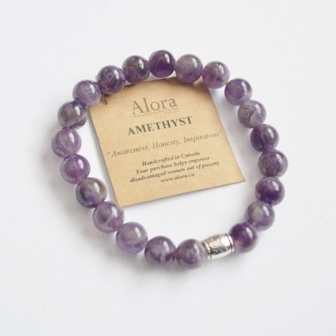 Amethyst (Purple) Gemstone Stretch Bracelet - Alora Boutique  - 1