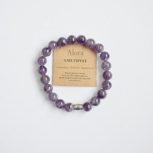 Awareness, Honesty and Inspiration | Beaded Stretch Bracelet | Amethyst Gemstone - Alora Boutique - Jewelry with meaning that gives back fashion for good