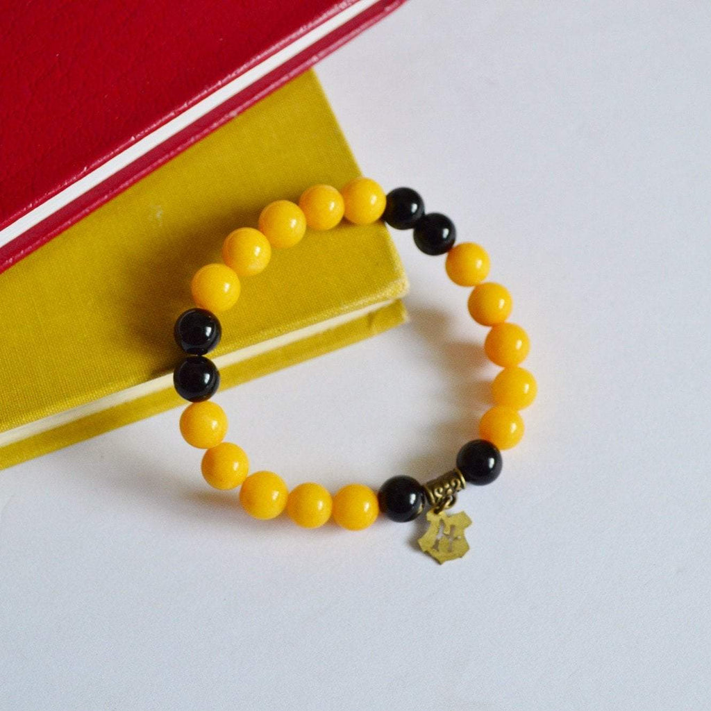 "I am ""Hard Working, Patient, and Loyal"" Gemstone Bracelet - Yellow and Black"