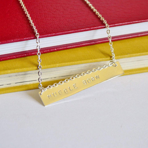 """Muggle Born"" Quote Necklace Sterling Silver and Brass"