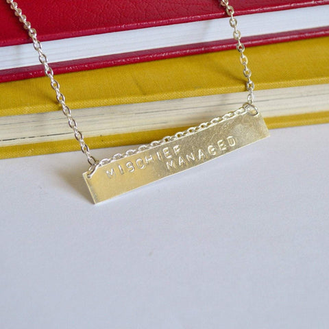 """Mischief Managed"" Horizontal Bar Necklace 