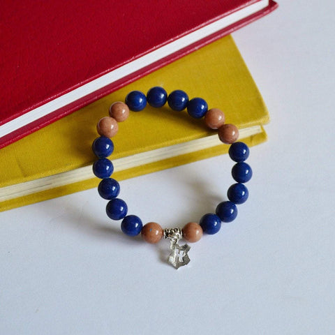 "I am ""Witty, Learned and Wise""  Gemstone Bracelet - Blue and Brown"