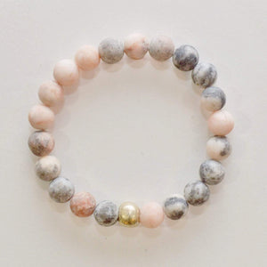 Appreciation, Empowerment, Understanding | Beaded Stretch Bracelet | Pink Zebra Jasper Gemstone Bracelets Alora Boutique