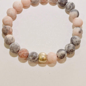 Appreciation, Empowerment, Understanding | Beaded Stretch Bracelet | Pink Zebra Jasper Gemstone - Alora Boutique - Jewelry with meaning that gives back fashion for good