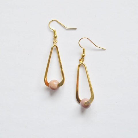 Rhodonite (Pink) Upward Spiral Gemstone Earrings | 14K Gold or Silver Plated