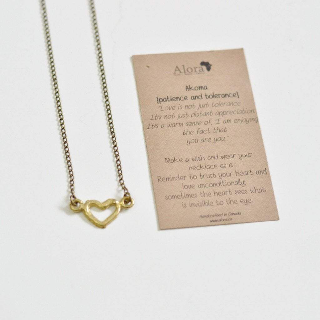 Akoma | Heart Necklace | Recycled Brass - Alora Boutique - Jewelry with meaning that gives back fashion for good