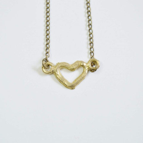 "Akoma "" the heart"" Delicate Recycled Brass Necklace 