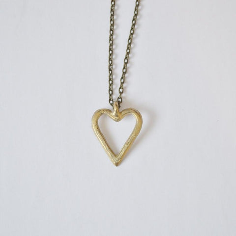 Akoma | Heart Pendant Necklace | Recycled Brass - Alora Boutique