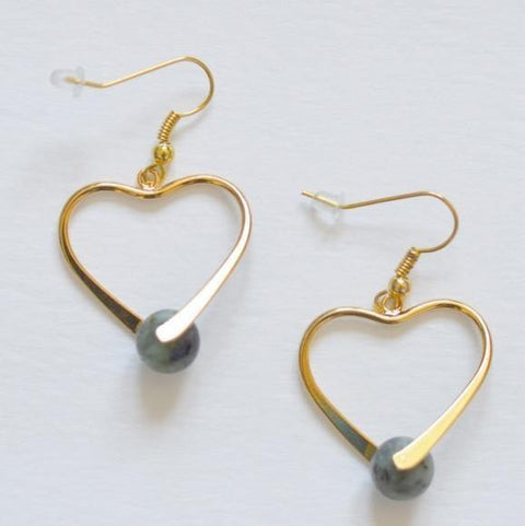 Healing Gemstone Earrings- 14k Gold - Heart - Alora Boutique  - 1