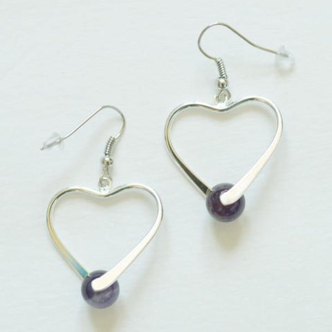 Healing Gemstone Earrings- Silver Plated - Heart - Alora Boutique  - 1